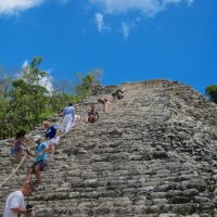 Climbing Down Nohoch Mul Pyramid
