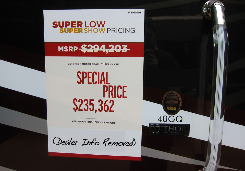 The Truth About RV Show Special Pricing Trek With Us - What's the difference between invoice and msrp online outlet stores