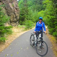 Kathy on the Long Beach Bike Path