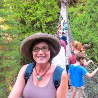Kathy on the Lynn Canyon Suspension Bridge