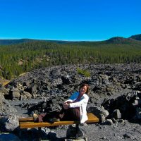 Kathy with the Big Obsidian Lava Flow