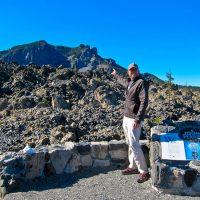 Rich pointing at Paulina Peak