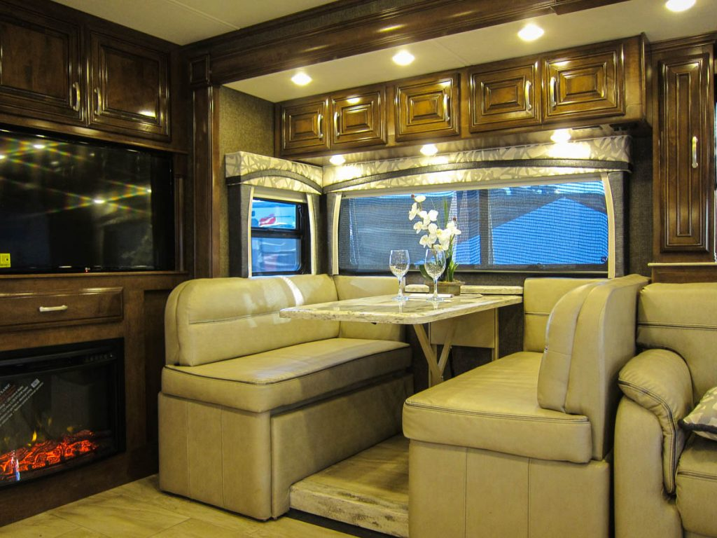 The dinette with RV & Fireplace